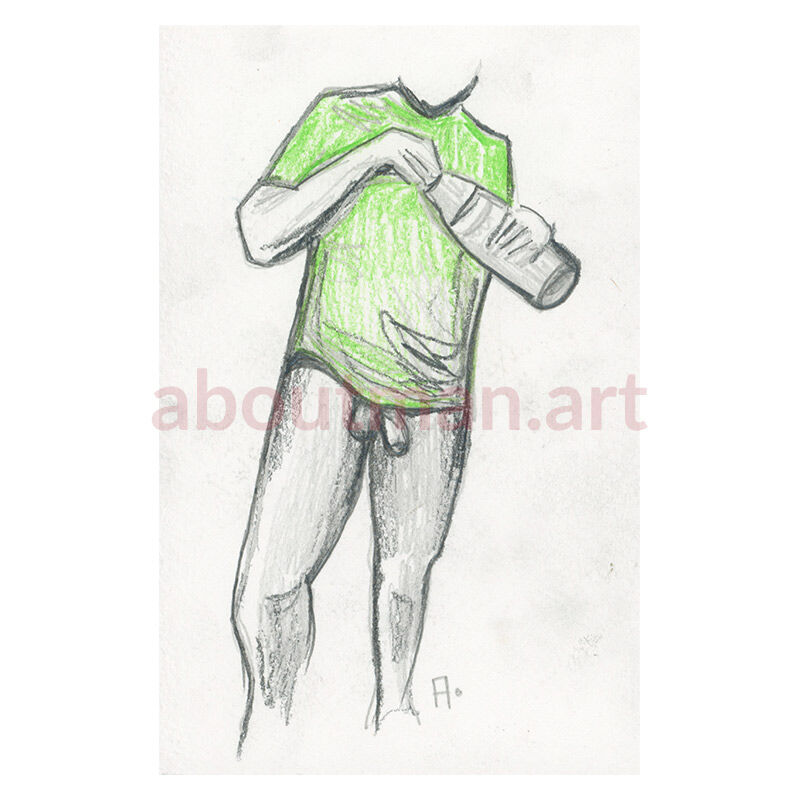 Green Shirt - Male nude pencil drawing on paper