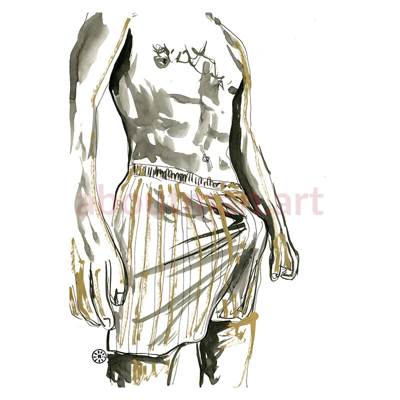 Morning Bulge - original male nude homoerotic art underwear bulge artwork for sale