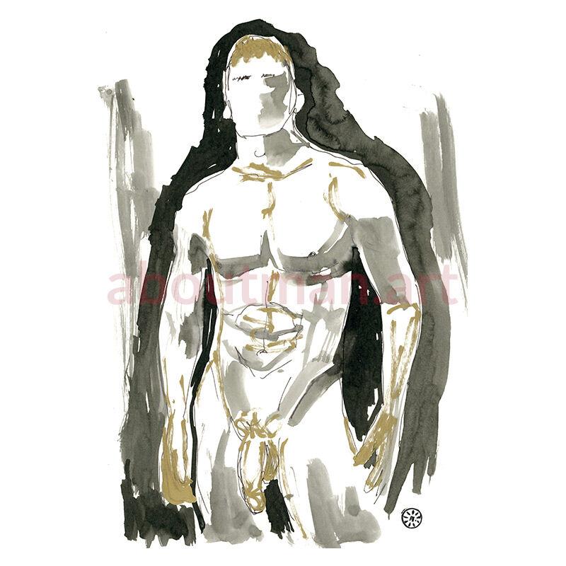 Lad - original homoerotic art, sex art, male nude painting on paper, gay art buy online