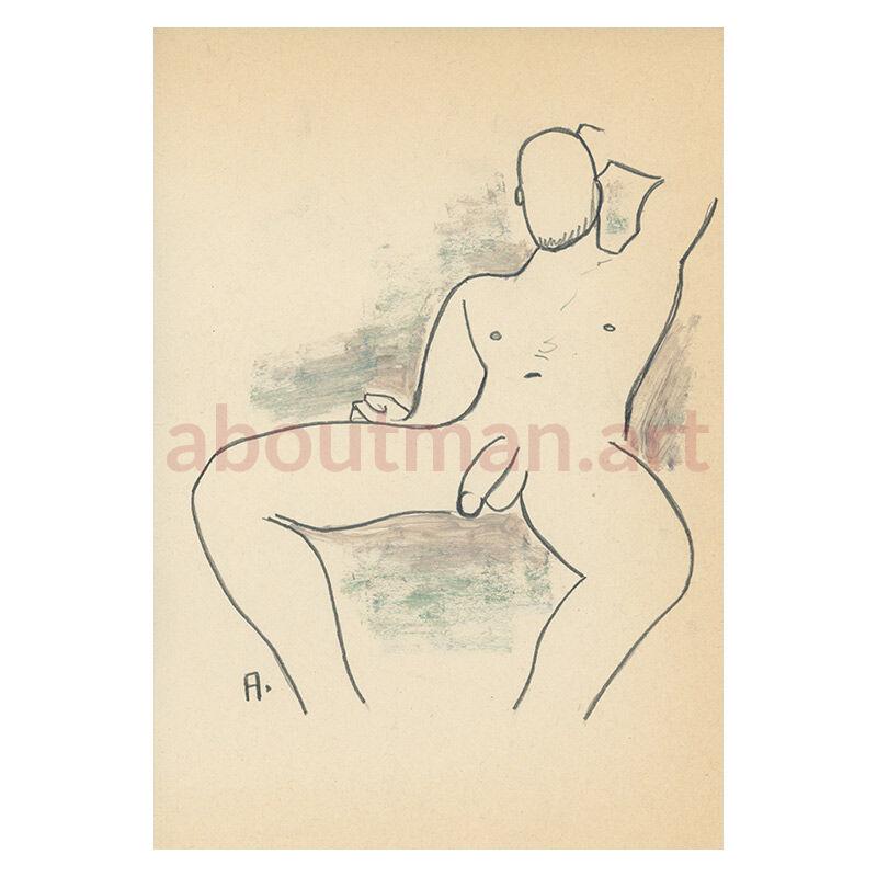 Nude Thinker - original male nude drawing homoerotic artwork for sale