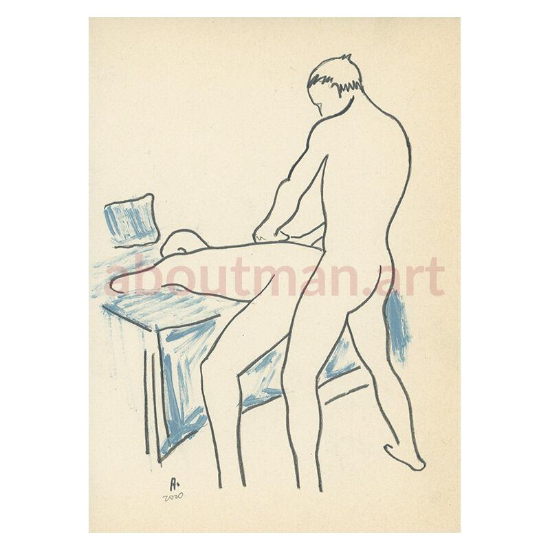 Afternoon Fun - original male nude drawing, homoerotic sketch, male nude art buy online