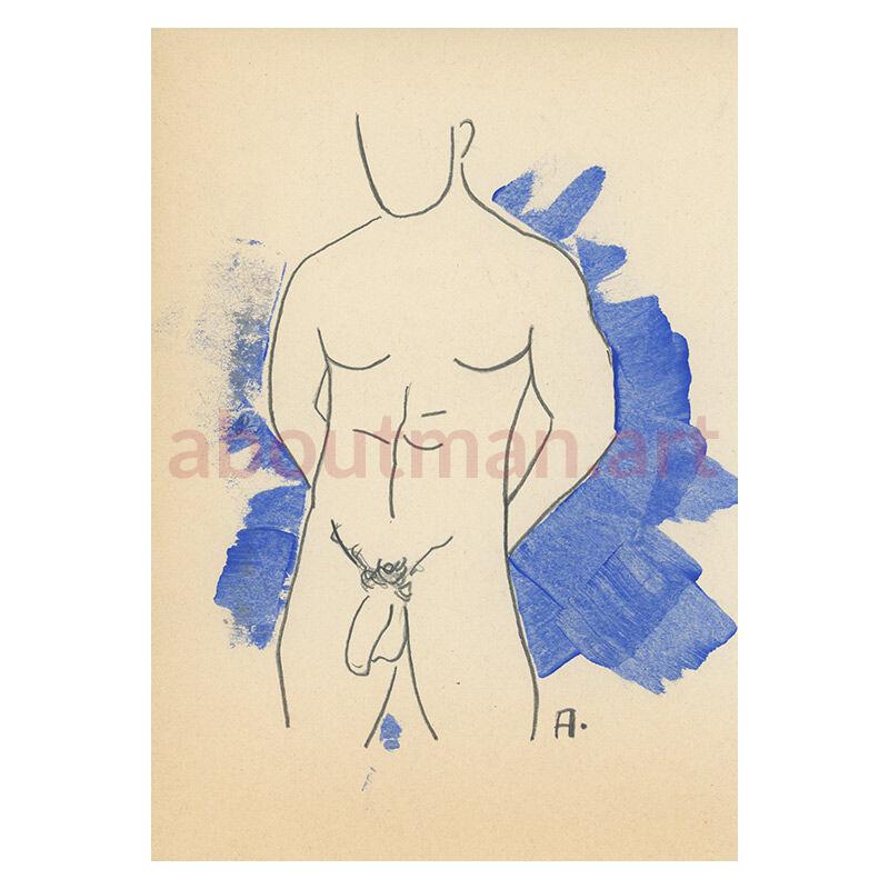 Man On Blue - original homoerotic artwork, erotic sketch on pencil, adult art, buy online