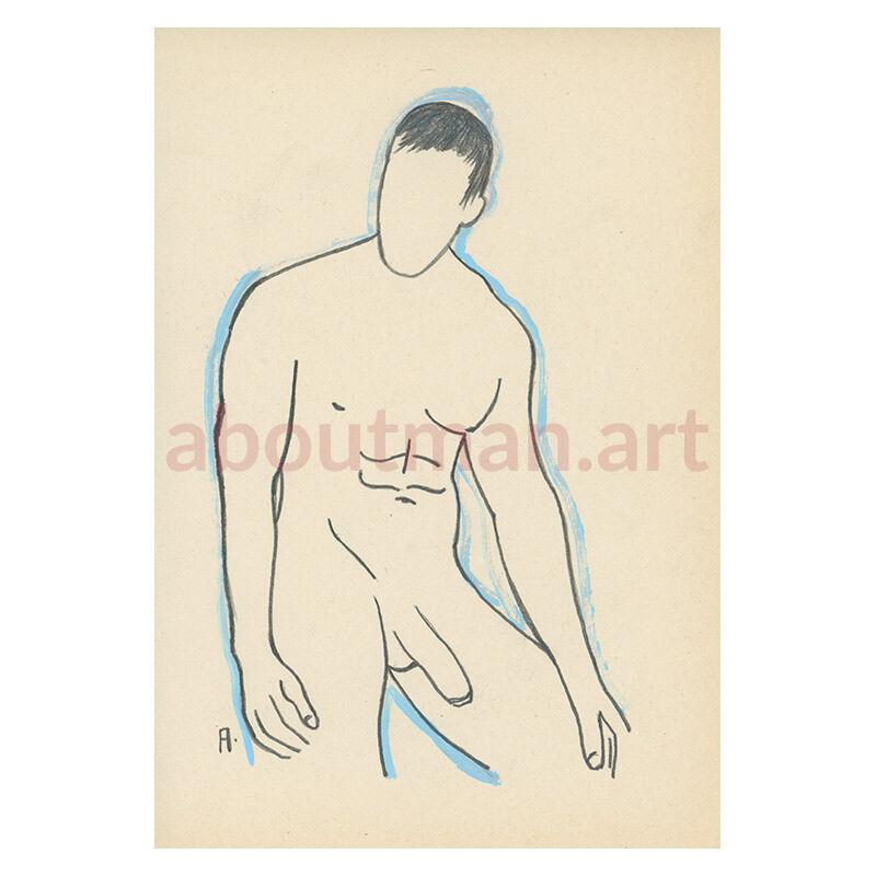 Blue Outline - original male nude art, full frontal drawing, buy art online