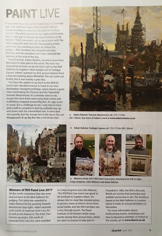An article in 'The Artist' magazine relating to the ROI Paint Live 2017
