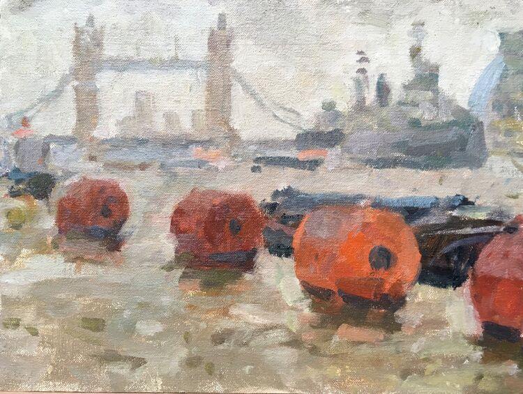 "Tower Bridge, Wet Day (9""x12"") - £495"
