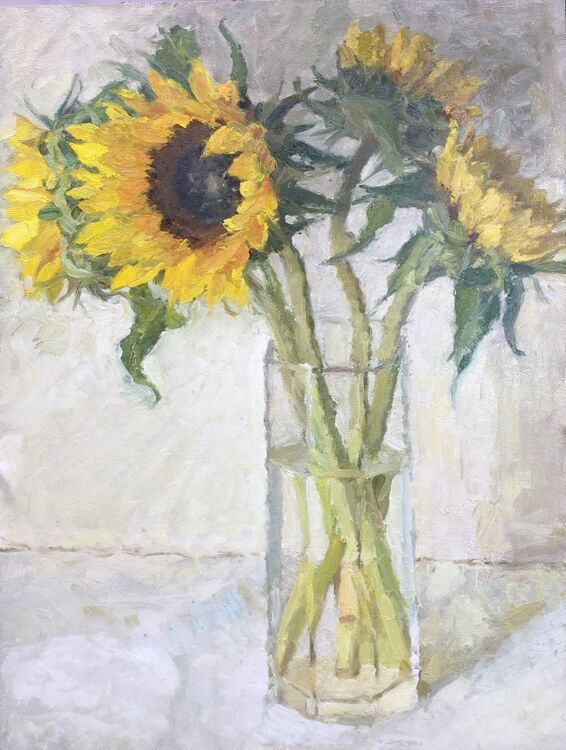 "Sunflowers (16""x12"") - £695"