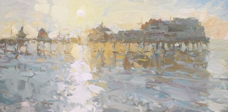 "Setting Sun, North Pier (10""x20"") - £795"