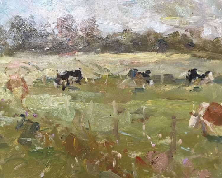 "Grazing Cows (8""x10"") - £395"