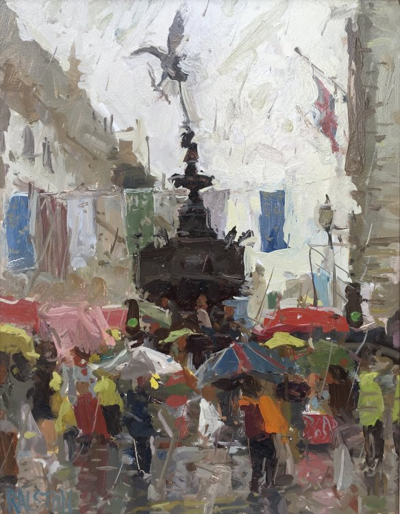 "Piccadilly Circus, Rain. (14""X11"") - SOLD"