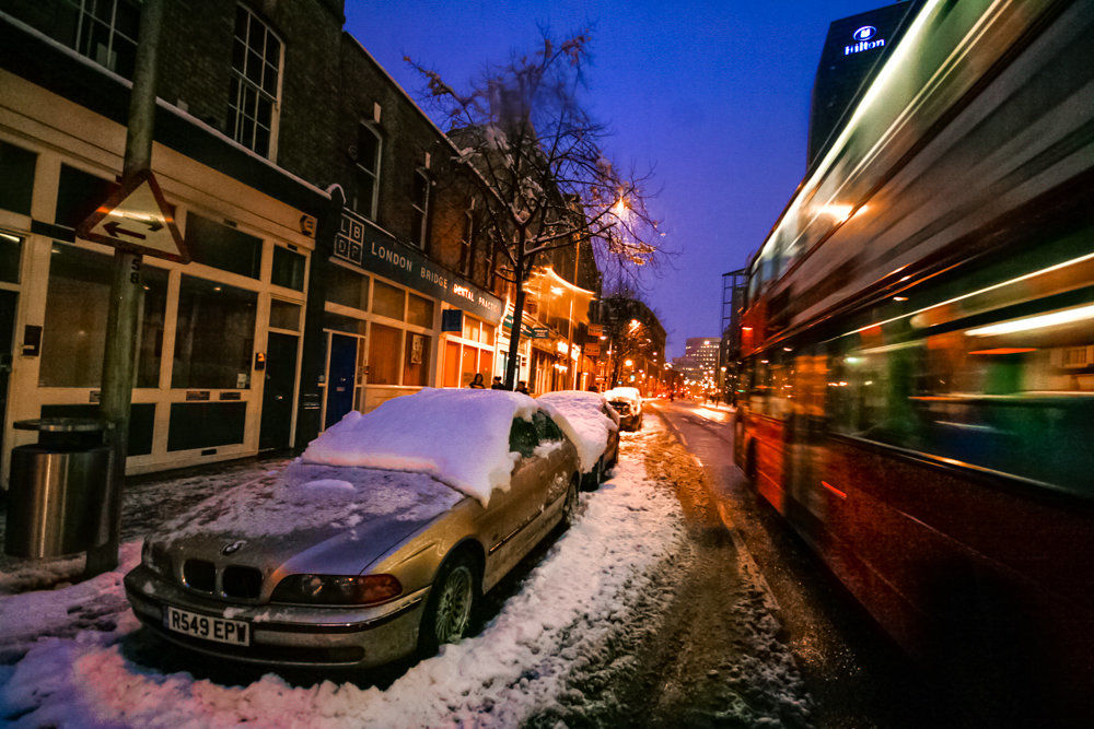 Wintry London at dusk