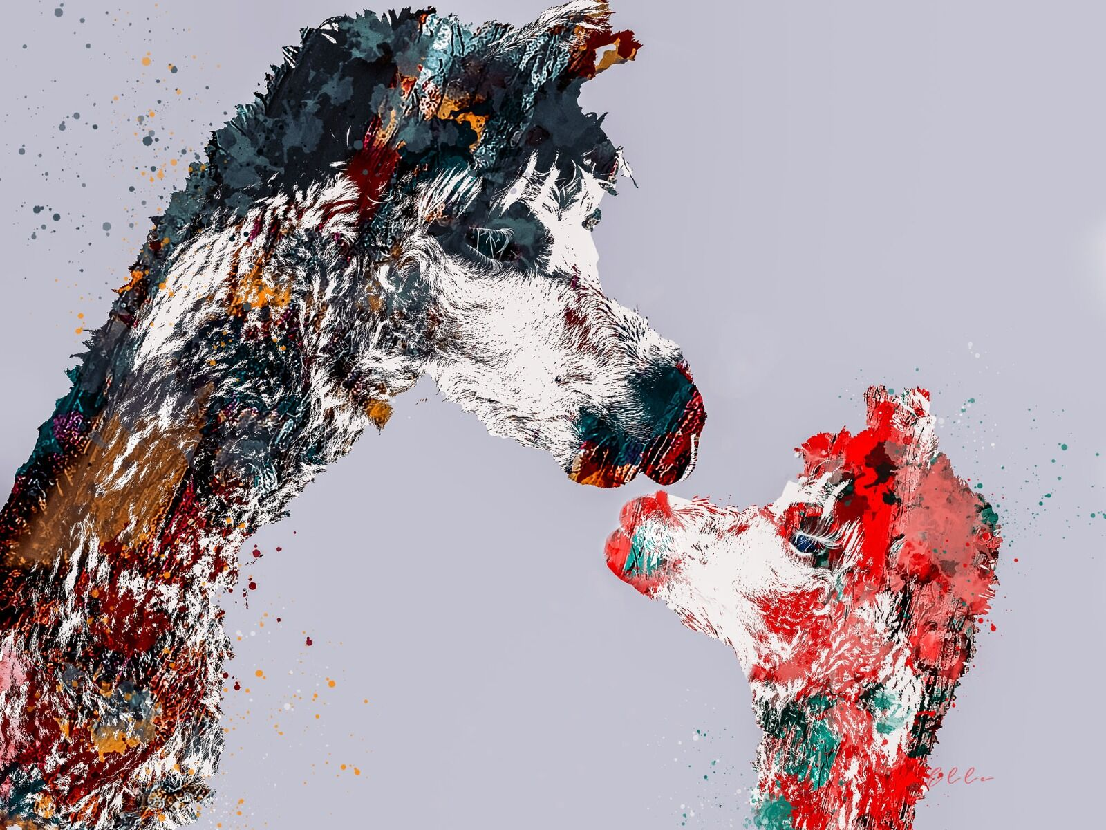 Alpaca with baby abstract