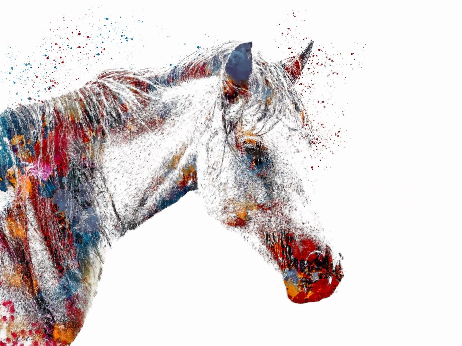 Abstract white horse
