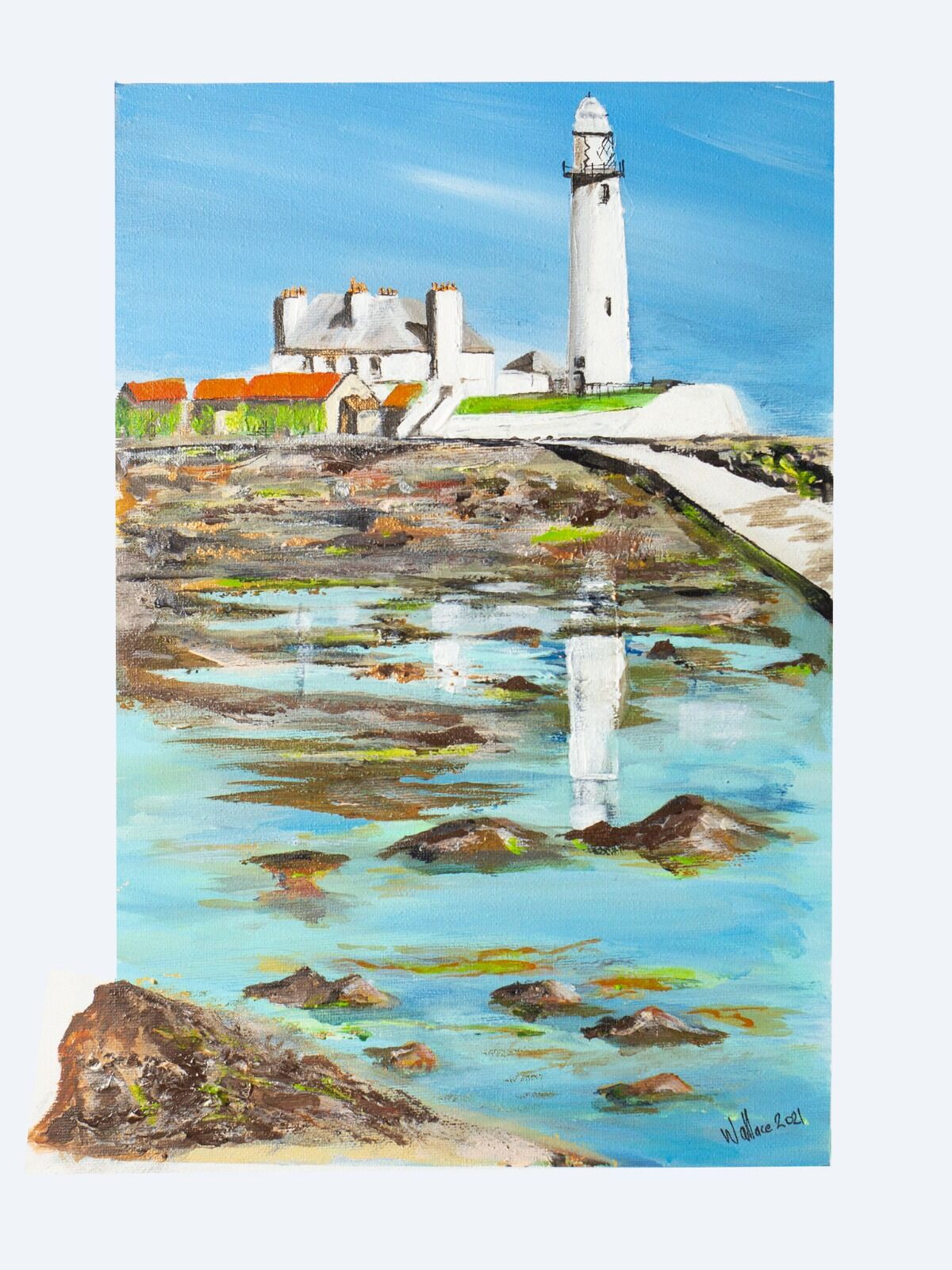 White Lighthouse seascape