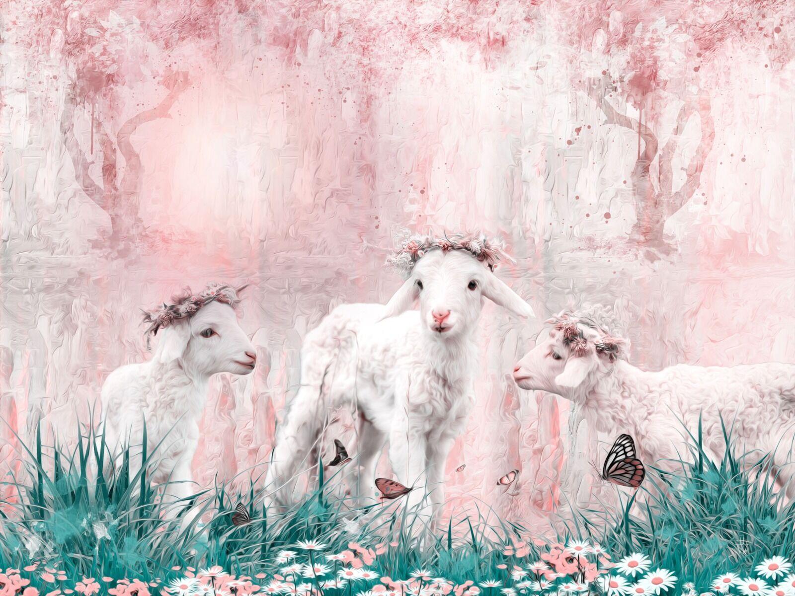 Spring lambs - Mixed Art Effect