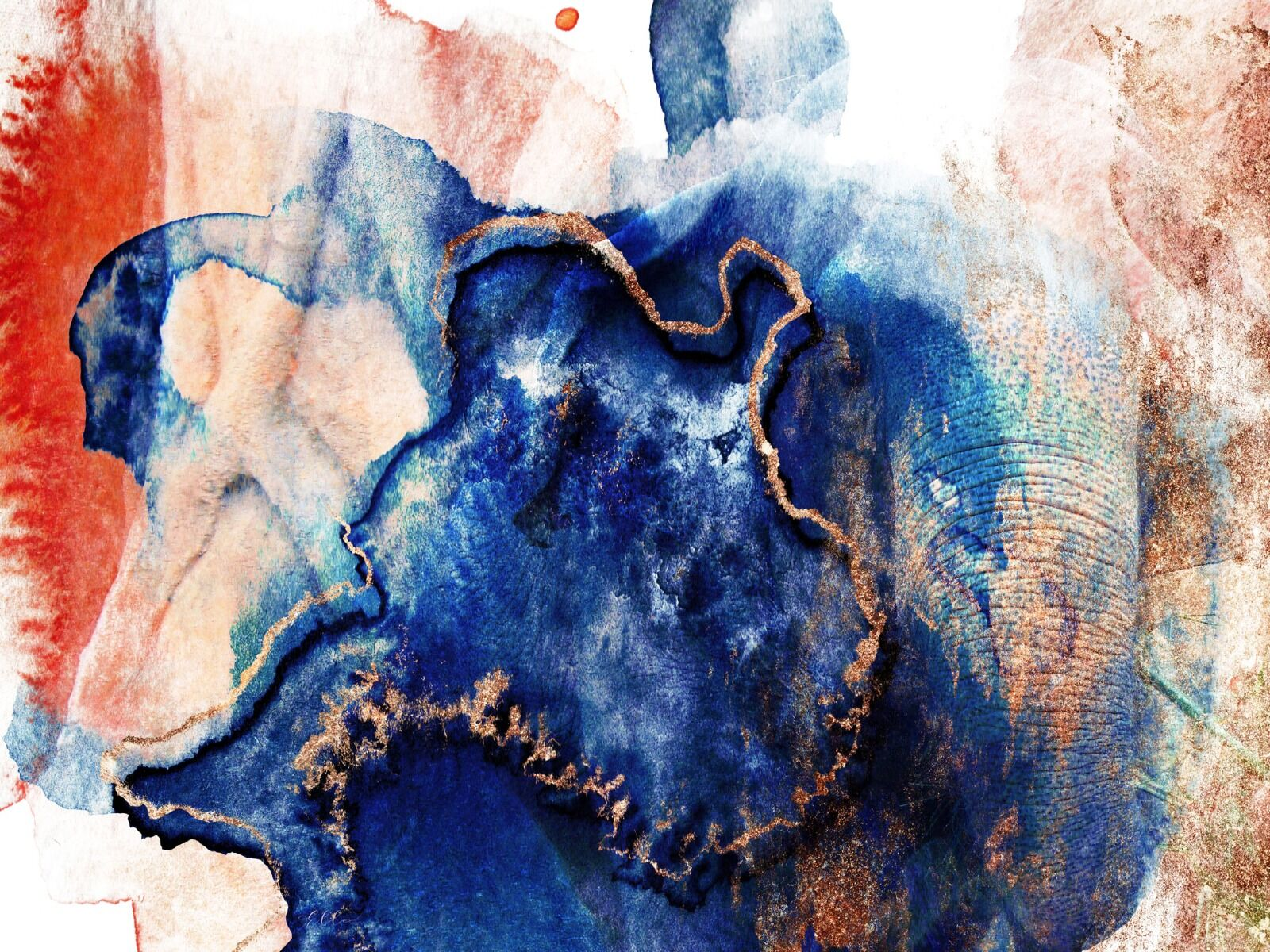 Elephant Abstract blue & gold