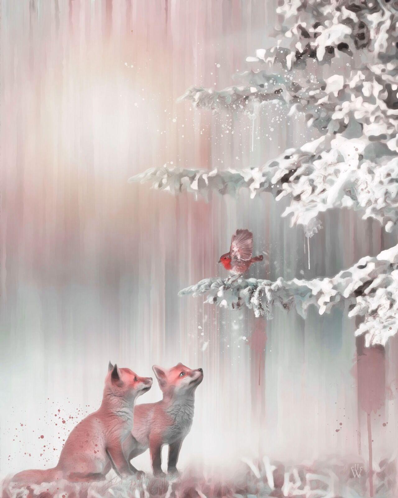 Little Foxes - Mixed Art Effect