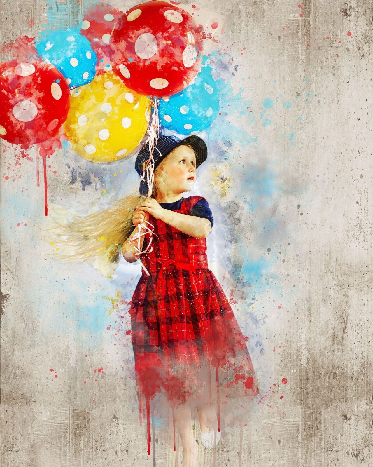 Holding onto balloons - Mixed Art Effect