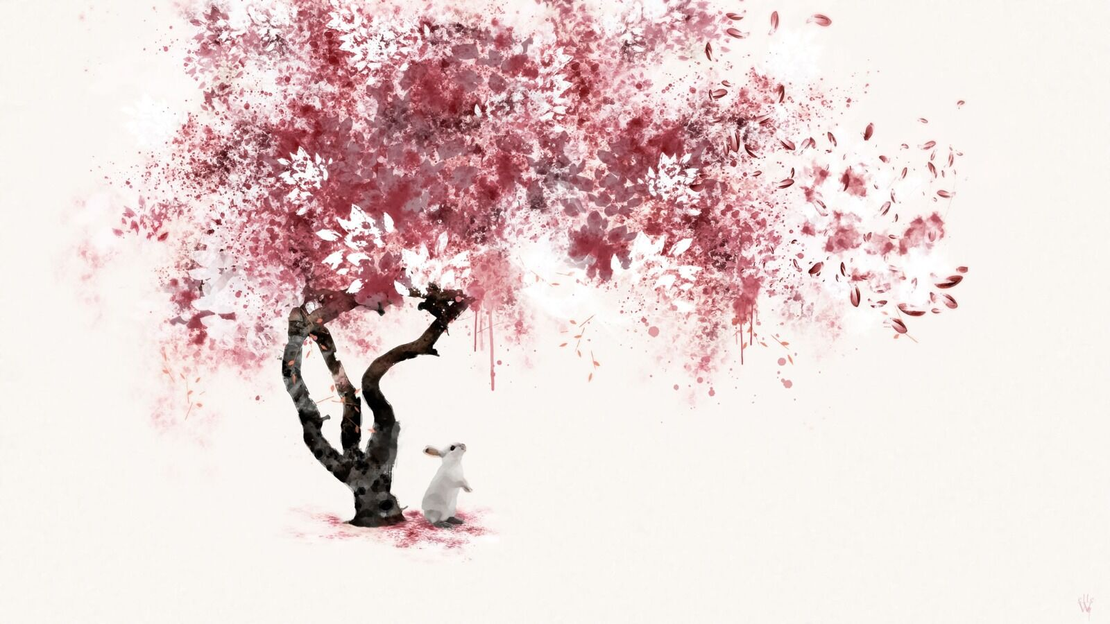 The little red tree - Mixed Art Effect