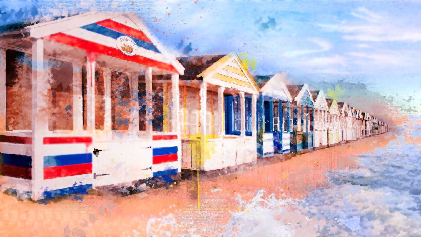Beach huts - Mixed Art Effect