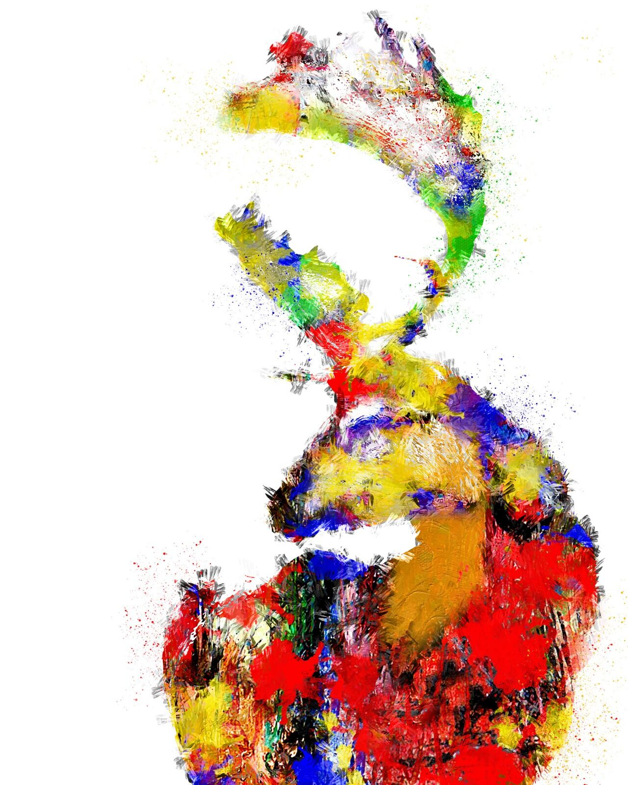 Abstract multi colour stag
