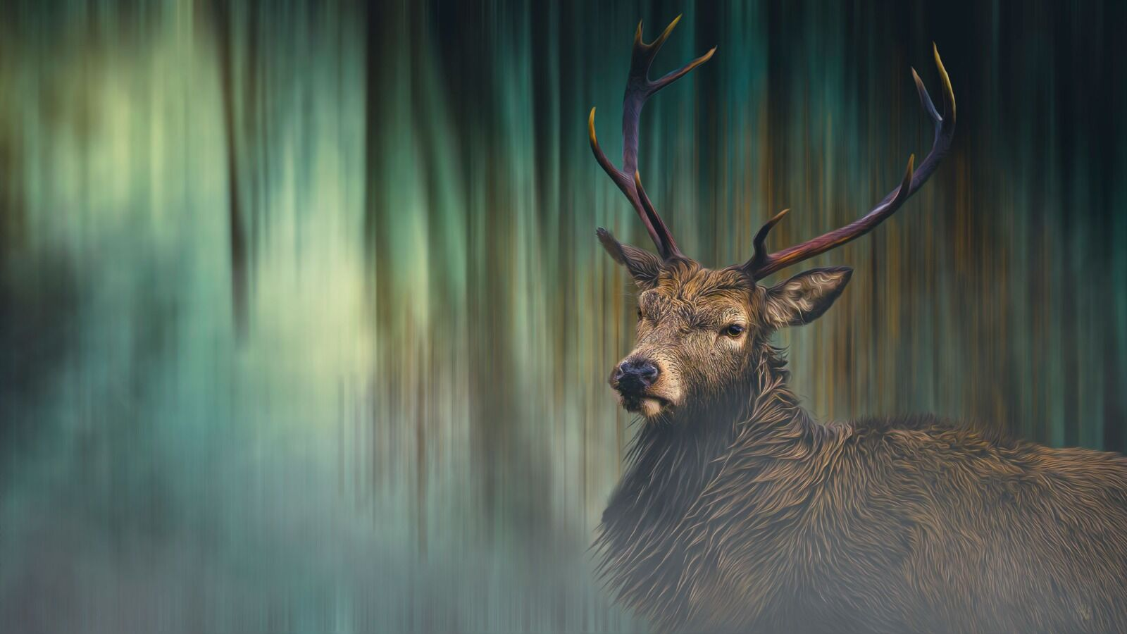 Stag in the forest - Mixed Art Effect