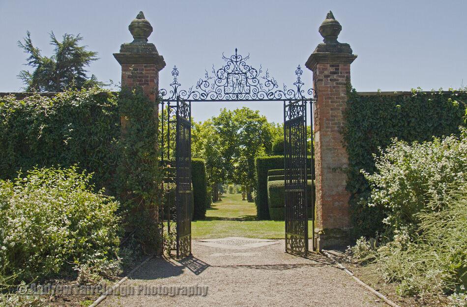 Formal garden with wrought iron gates leading to the Ilex Avenue