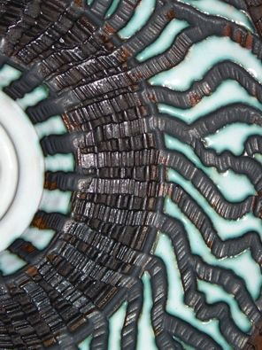 Detail - Wheel-thrown, hand-carved, wall-mounted disc