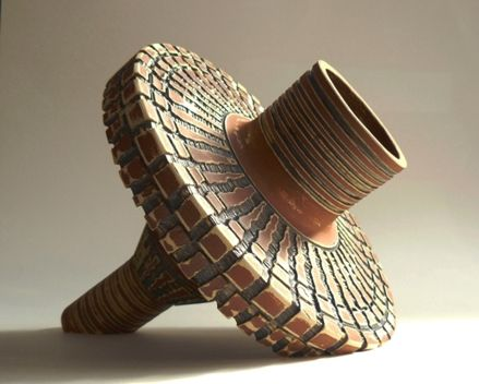 'Dilophosaurus Drainpipe' - wheel-thrown in sections, hand-carved and joined