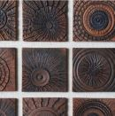 'Nine Squares' - Handmade, hand-carved, wall-mounted tile panel