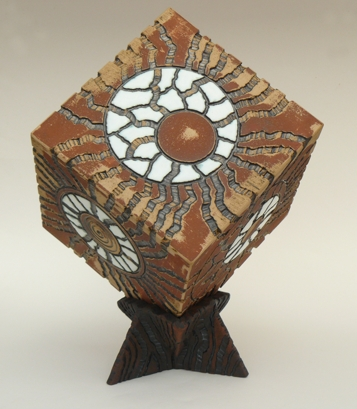 Cube on Stand - Handmade, slab-built, hand-carved - Height approx: 30.5 cm