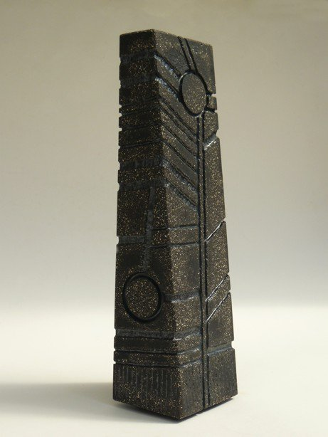 Black Standing Stone - slab-built, hand-carved (footed base) - Height: 28 cm