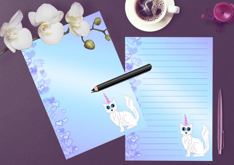 White Kittycorn Writing paper