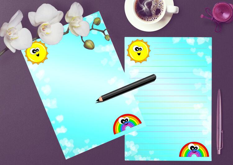 Sun and Rainbow writing paper