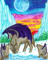 Wolf and cubs with wings