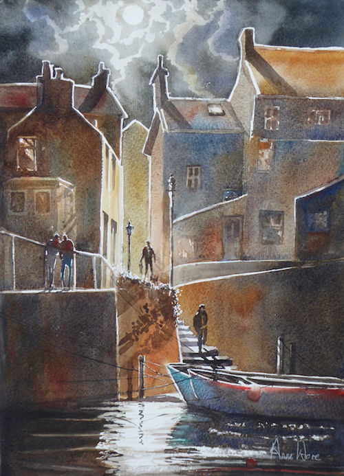 Moonlit Abram's Steps, Staithes - SOLD