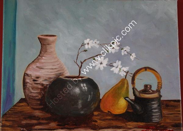 '... and a Pear', oil on canvas, 40cm (h) x 50cm (w), 16'' (h) x 19'' (w)