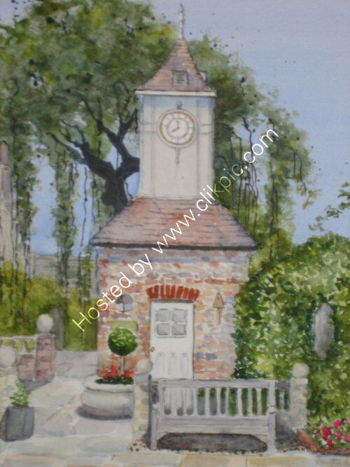 10  x 12 watercolour of the Panacea chapel clock tower