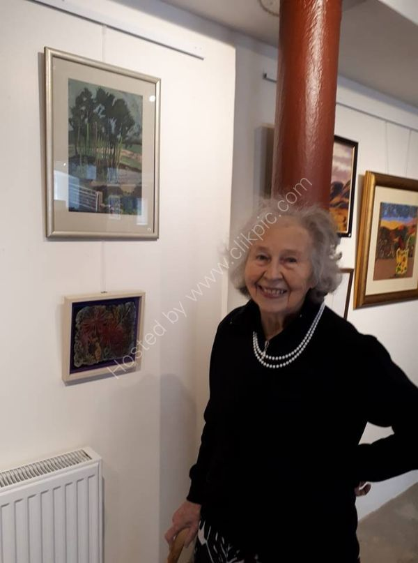 Daphne Mellor, the last remaining founder member of the Bedford Art Society, who is still exhibiting with us at the age of 90