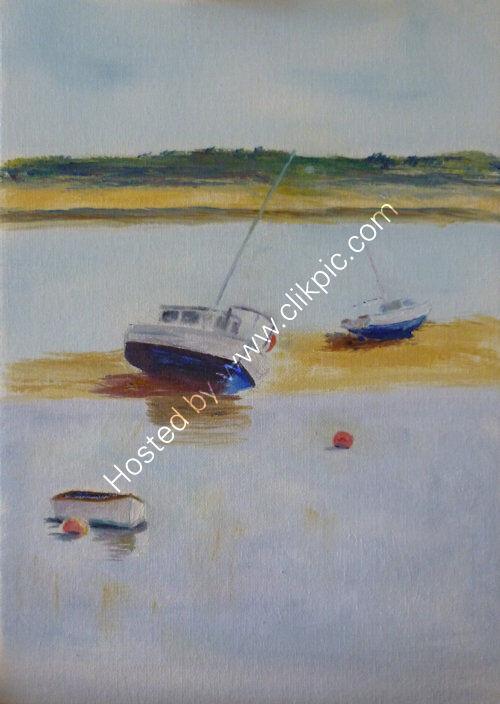 Boats at Wells, oils