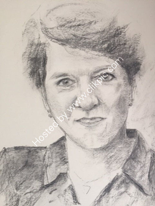 Claire Balding, A3 charcoal by Colin Kitchen