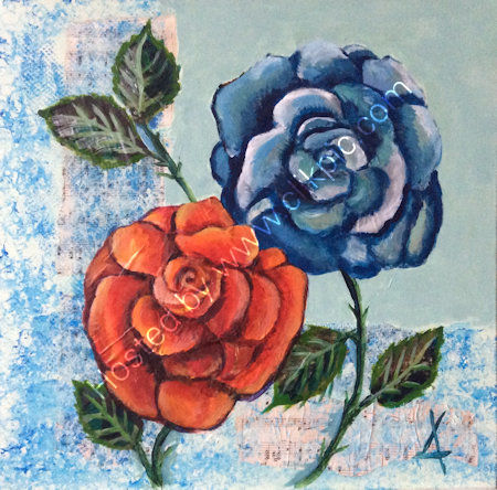 Collage roses - acrylics with collage