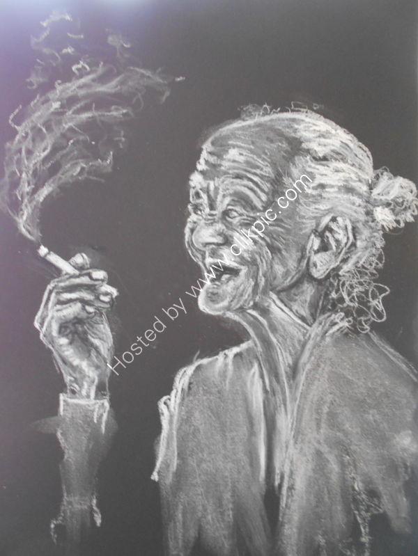 black paper in pastel pencil