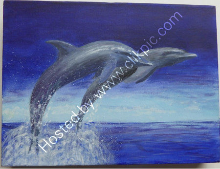 Dolphins    An acrylic painting, on a stretched canvas block frame. W=30 cms + h=23 cms