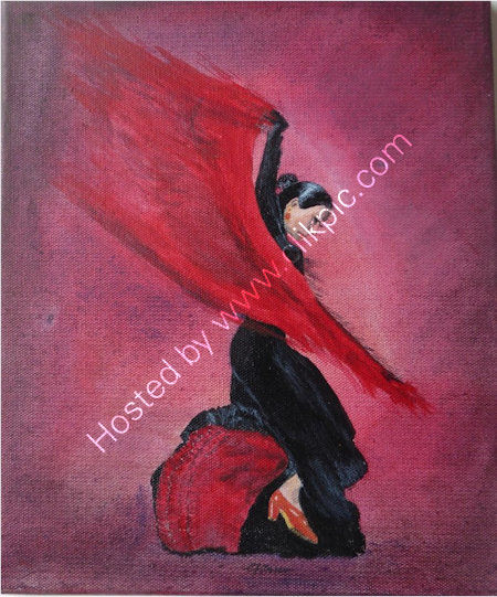Flamenco Dancer    An acrylic painting, on a stretched canvas block frame. W=25 cms + h=30 cms