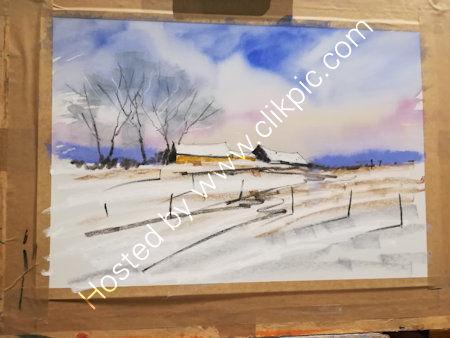 Tim Fisher, demonstrates oil pastels creating a winter landscape. 2020