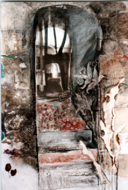 Through The Arch 2'x4' 1993 Charcoal, caustic soda, collage, paint, singeing, scratching, glue