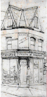 Corner Shop 1950 Small pen and ink drawing in Sketch Book