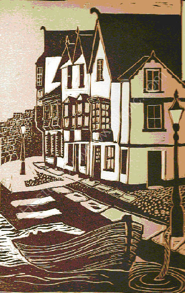 Fishermans Cove Linocut