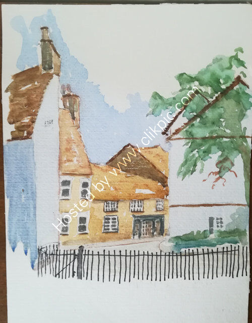 Kimbolton, A3 watercolour
