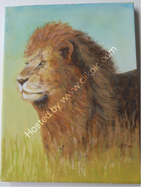 Lion    An acrylic painting, on a stretched canvas block frame. W=23 cms + h=30 cms